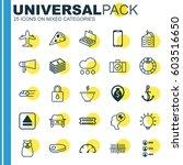 set of 25 universal editable... | Shutterstock .eps vector #603516650