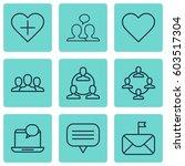 set of 9 social network icons.... | Shutterstock .eps vector #603517304