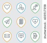 set of 9 communication icons.... | Shutterstock .eps vector #603517358
