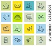 set of 16 social icons.... | Shutterstock .eps vector #603519008