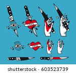 vector traditional tattoo style ... | Shutterstock .eps vector #603523739