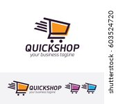quick shop  vector logo template   Shutterstock .eps vector #603524720