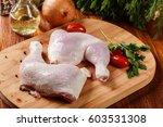 raw chicken legs and marinade... | Shutterstock . vector #603531308