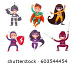 set of children dressed in... | Shutterstock .eps vector #603544454