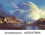 scenery of lonely woman looking ... | Shutterstock . vector #603547844