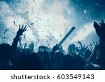 party people concept. crowd... | Shutterstock . vector #603549143