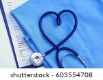 medical stethoscope twisted in... | Shutterstock . vector #603554708
