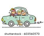 children in the car  winter... | Shutterstock .eps vector #603560570