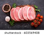 fresh pork with ingredients for ... | Shutterstock . vector #603569408