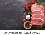 fresh pork with ingredients for ... | Shutterstock . vector #603569423