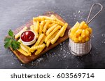 french fries with ketchup on... | Shutterstock . vector #603569714