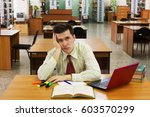 young man student feel bored... | Shutterstock . vector #603570299