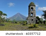 Mayon Volcano And The Ruins Of...