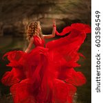 beautiful young girl in a red... | Shutterstock . vector #603584549