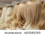 row of mannequin heads with...   Shutterstock . vector #603585290