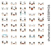 kawaii cute smile emoticons and ... | Shutterstock .eps vector #603589436