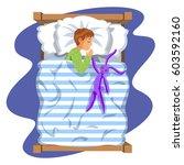 boy sleep bedtime in his... | Shutterstock .eps vector #603592160