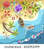relax on sea beach vector top... | Shutterstock .eps vector #603592499