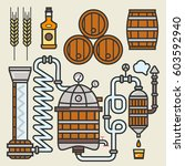 whiskey production line of... | Shutterstock .eps vector #603592940