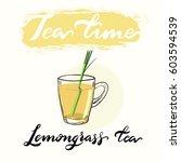 tea time menu drinking cup.... | Shutterstock .eps vector #603594539