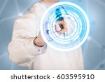 a male  doctor in white coat... | Shutterstock . vector #603595910