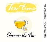 tea time menu drinking cup.... | Shutterstock .eps vector #603596516