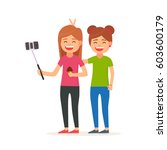 girls take selfies with a... | Shutterstock .eps vector #603600179