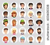 set of 25 flat cartoon round... | Shutterstock .eps vector #603600338
