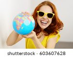 young red haired woman in... | Shutterstock . vector #603607628