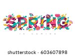spring typography design with... | Shutterstock .eps vector #603607898