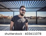 portrait of a fashion bearded... | Shutterstock . vector #603611078