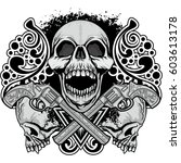 gothic coat of arms with skull  ... | Shutterstock .eps vector #603613178