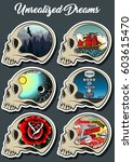 vector skulls set thought and... | Shutterstock .eps vector #603615470