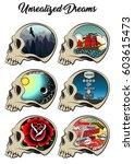 vector skulls set thought and... | Shutterstock .eps vector #603615473