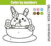Coloring Page With Easter Bunn...