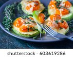 baked zucchini with cherry... | Shutterstock . vector #603619286