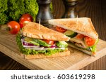 close up of two sandwiches with ... | Shutterstock . vector #603619298