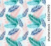 seamless pattern of tropical... | Shutterstock .eps vector #603619490