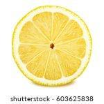 slice of lemon isolated on... | Shutterstock . vector #603625838