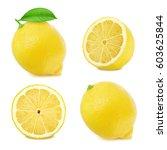 lemon slices set isolated on... | Shutterstock . vector #603625844
