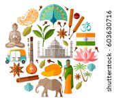 traditional indian symbols in a ... | Shutterstock .eps vector #603630716