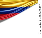 colombia flag of silk with... | Shutterstock . vector #603633128