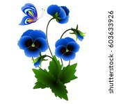 Blue Pansies With A Butterfly.