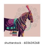 horse colorful vector art... | Shutterstock .eps vector #603634268