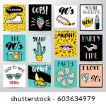 set of different cards  | Shutterstock .eps vector #603634979