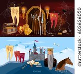 medieval banners  old king ... | Shutterstock .eps vector #603636050