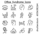 office syndrome icon set in... | Shutterstock .eps vector #603638264