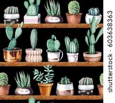 hand drawn various of cactus in ... | Shutterstock . vector #603638363