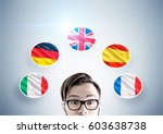 close up of a head of a hipster ... | Shutterstock . vector #603638738