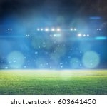 stadium in lights and flashes... | Shutterstock . vector #603641450